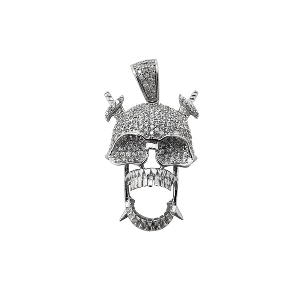 Iced-Out Skull with Crossed Sword Pendant (Silver) Lucky Diamond New York