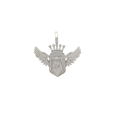 Iced-Out Winged Royal Jesus Head Pendant (Silver) Lucky Diamond New York