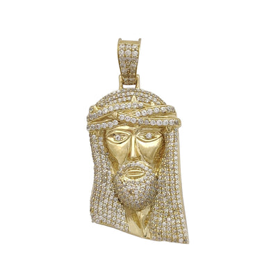 Iced-Outt Jesus Head Pendant (10K) Lucky Diamond New York