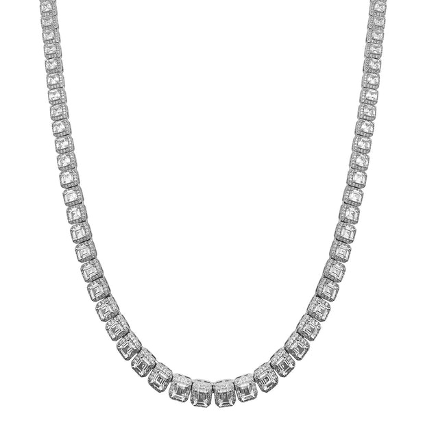 Iced-out Halo Cushion Shaped Chain (Silver) Lucky Diamond New York