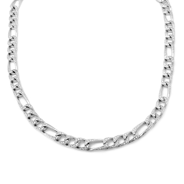 Iced Out Figaro Chain (Silver) Lucky Diamond New York