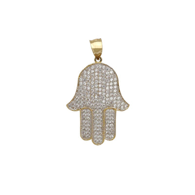 Iced Out Hamsa Hand CZ Pendant (14K) Lucky Diamond New York