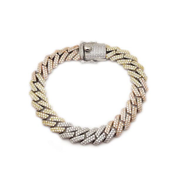Iced Out Rhombus Cuban Bracelet (Silver) Lucky Diamond New York