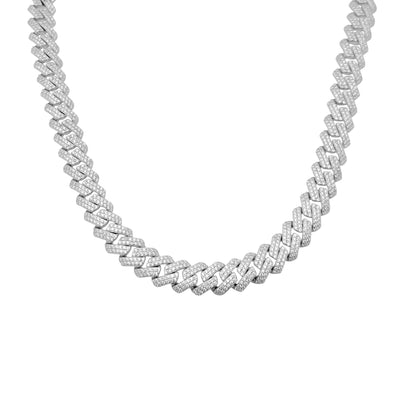 Iced Out Rhombus Cuban Chain (Silver) Lucky Diamond New York