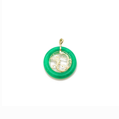 Jade Dragon Chinese Zodiac Sign Medallion Pendant (14K) 14 Karat Yellow Gold, Lucky Diamond New York