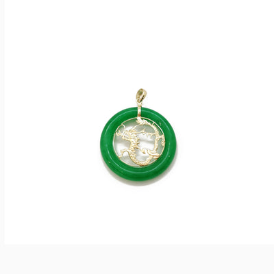 Jade Dragon Chinese Zodiac Sign Medallion Pendant (14K)