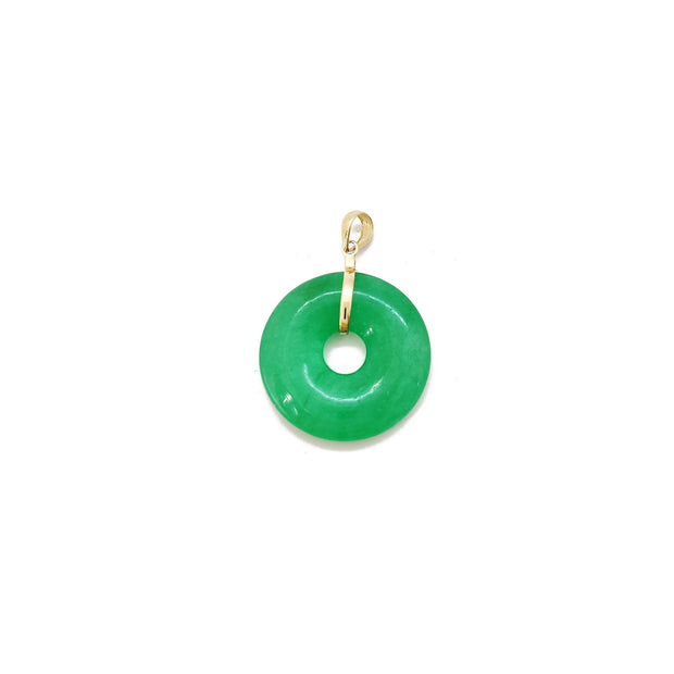 [璧] Jade Pi Disc (14K) 14 Karat Yellow Gold, Lucky Diamond New York