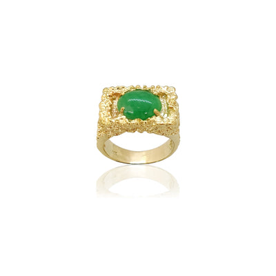 Jade Signet Nugget Ring (14K) Lucky Diamond New York