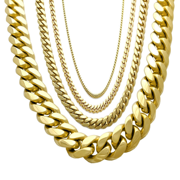 Solid Miami Cuban Link 14K Yellow Gold - Lucky Diamond