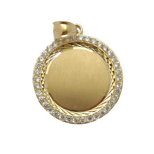 Memorial Picture Medallion Pendant CZ with Diamond Cuts (14K)