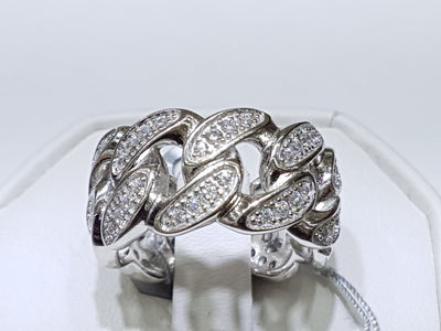 Iced-Out Cuban Link Ring Silver - Lucky Diamond