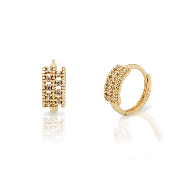 Milgrain 2 Rows Huggie Earrings (14K) Lucky Diamond New York