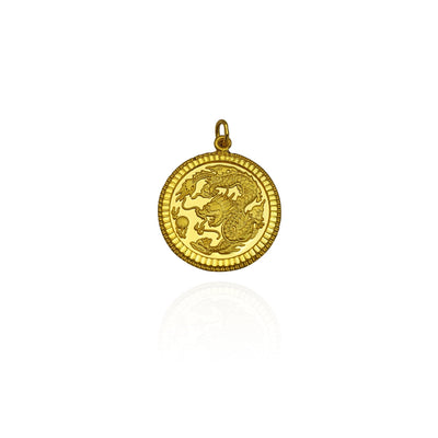 Milgrain Blessing Dragon Pendant (24K) New York Lucky Diamond