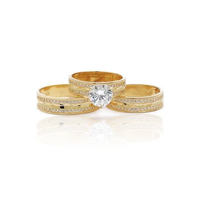 Milgrain Pave Setting Diamond-Cut Three Piece-Set Ring (14K) Lucky Diamond New York