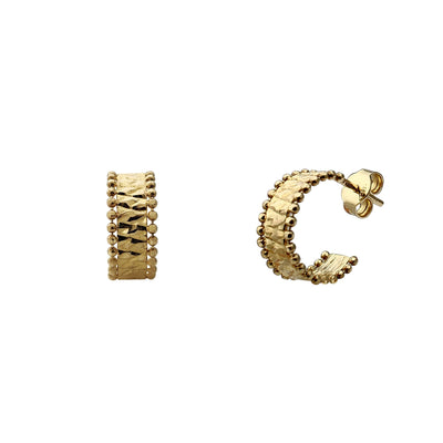 Milgrain ZigZag Diamond Cuts Stud Huggie Earrings (14K) Lucky Diamond New York