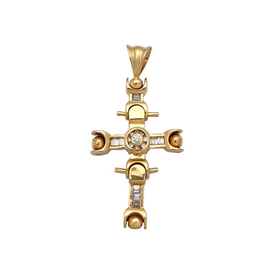 Motion Cross Channel Setting Pendant (14K) Lucky Diamond New York