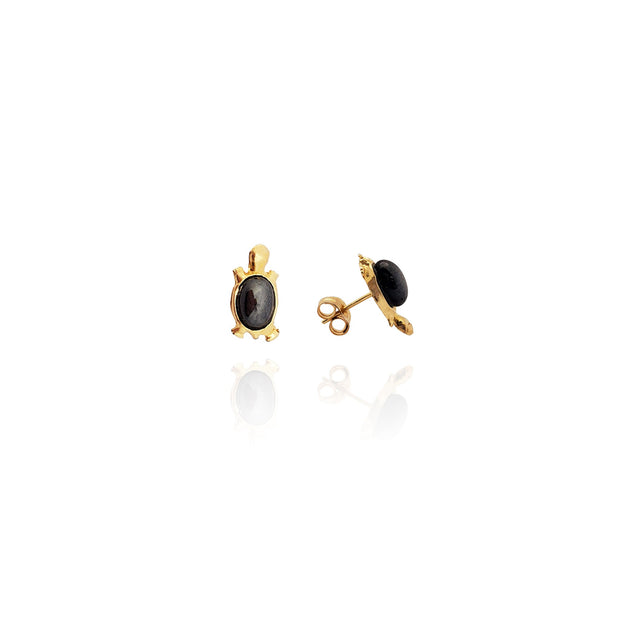 Onyx Shell Turtle Earrings (14K) New York Lucky Diamond