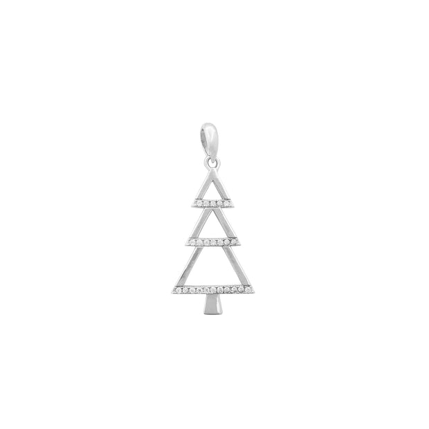 Outline Pave Christmas Tree Pendant (Silver) Lucky Diamond New York