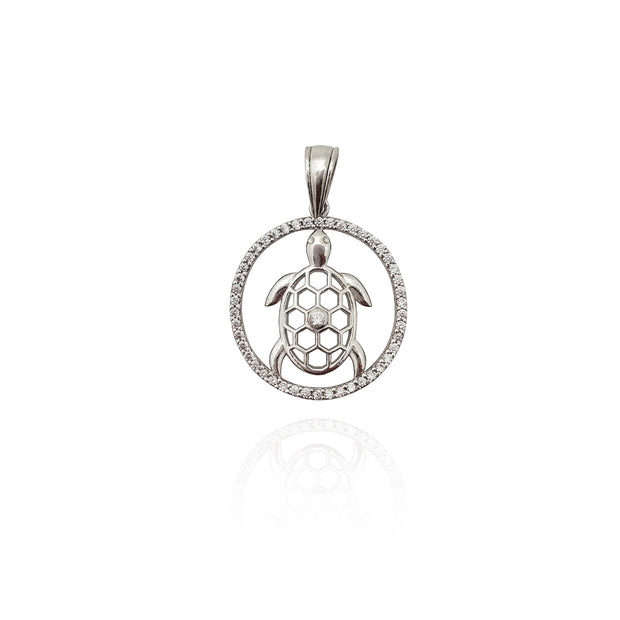 Outline Turtle CZ Pendant (Silver) New York Lucky Diamond