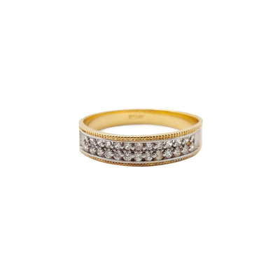 Pave Milgrain Wedding Band Ring (14K) Lucky Diamond New York