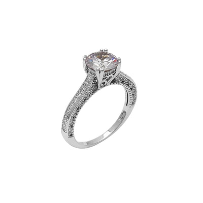 Pave Milgrain Zirconia Engagement Ring (Silver) Lucky Diamond New York