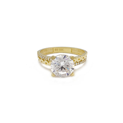 Pave Circles Engagement Ring (10K) Lucky Diamond New York