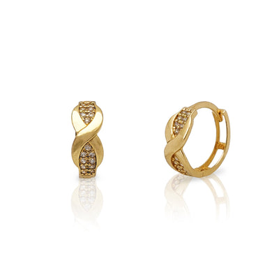 Pave Criss Cross Huggie Earrings (14K) Lucky Diamond New York