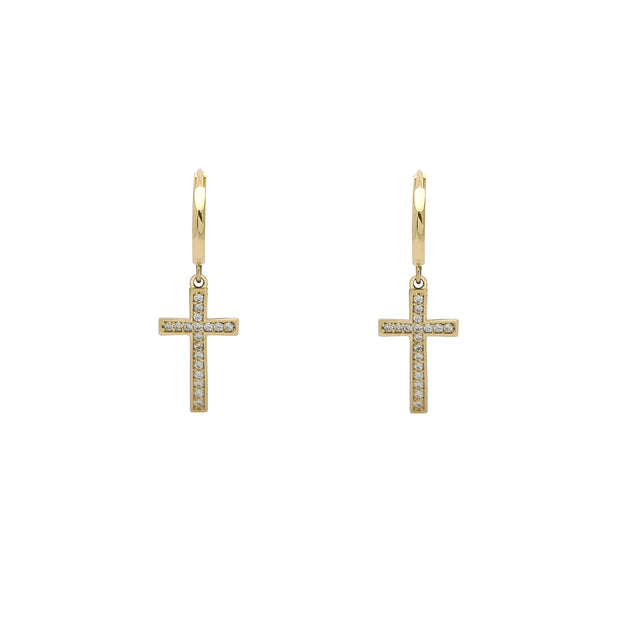 Pave Cross Huggie Earrings (14K) Lucky Diamond New York