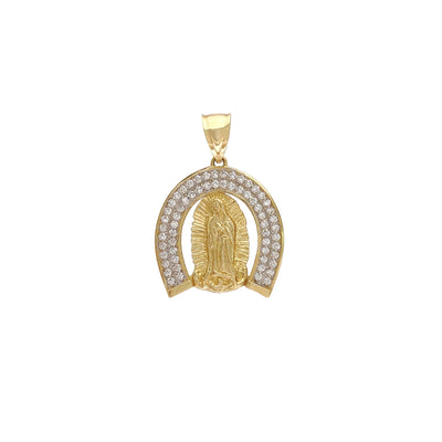 Pave Halo Virgin Mary Pendant (14K) Lucky Diamond New York