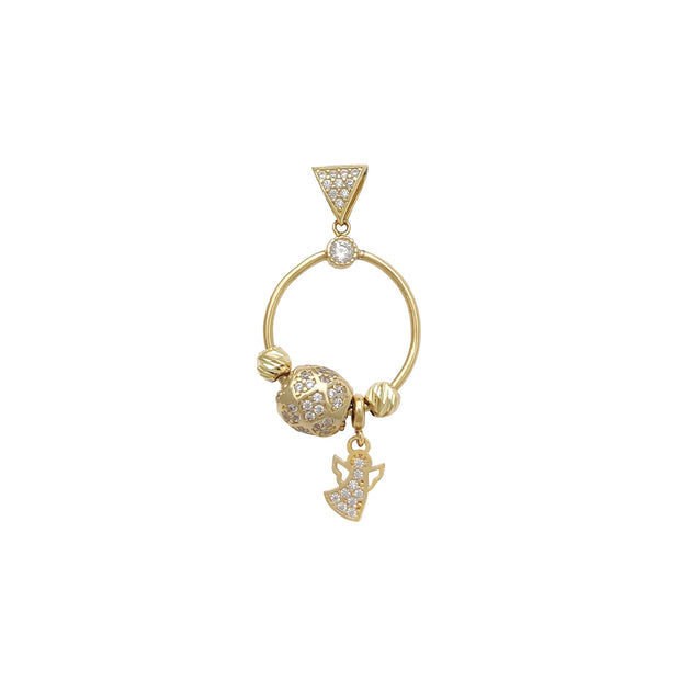 Pave Hoop Angel Pendant (14K) Lucky Diamond New York