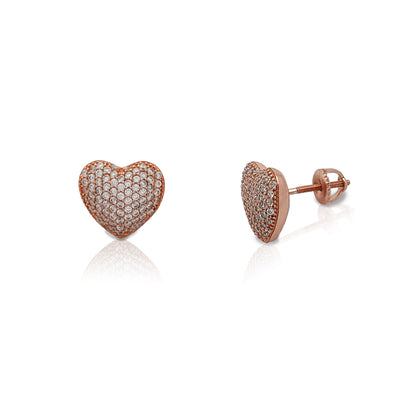 Puffy Pave Heart Stud Earrings (Silver) Lucky Diamond New York