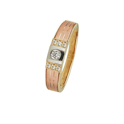 Tri-Color Wedding Band Ring (14K)