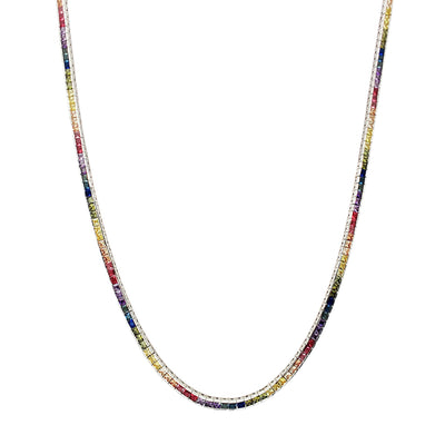 Rainbow Channel Setting CZ Tennis Chain (Silver) Lucky Diamond New York