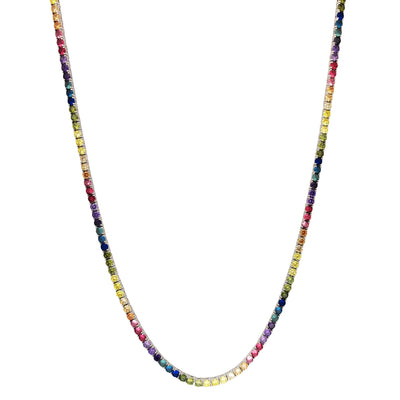 Rainbow Round CZ Tennis Chain (Silver) Lucky Diamond New York