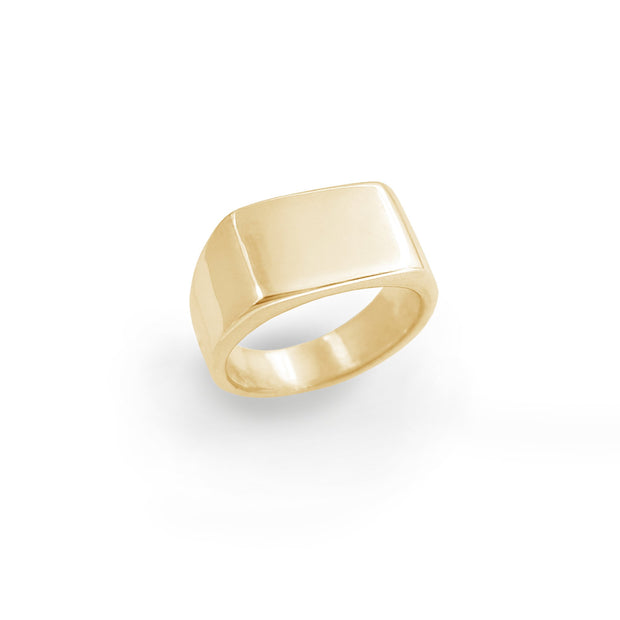 Rectangle Signet Ring (Silver) (10K) (14K) (18K)