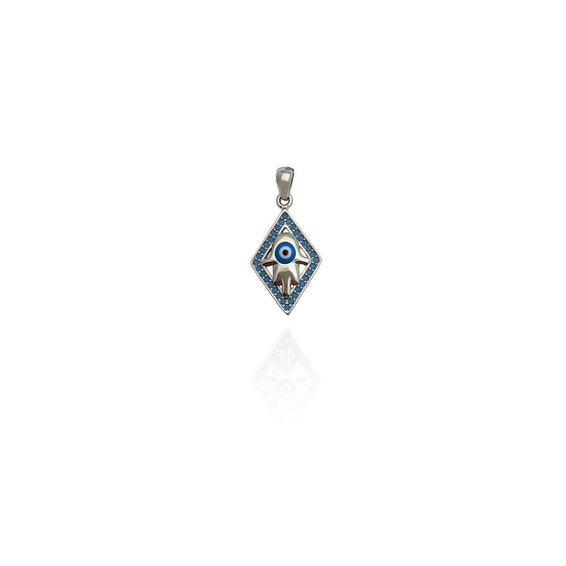 Rhombus Outline Hamsa CZ Pendant (Silver) New York Lucky Diamond