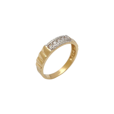 Ridged Two-Toned Wedding Band (14K) Lucky Diamond New York