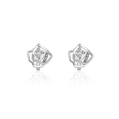 Rose Outline CZ Huggie Earrings (14K) Lucky Diamond New York