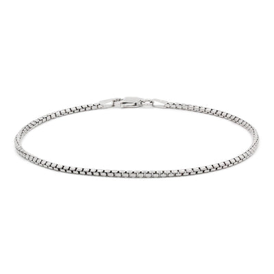 Round Box Anklet Bracelet (14K) Lucky Diamond New York