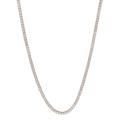 Round CZ Tennis Chain (Silver) Lucky Diamond New York