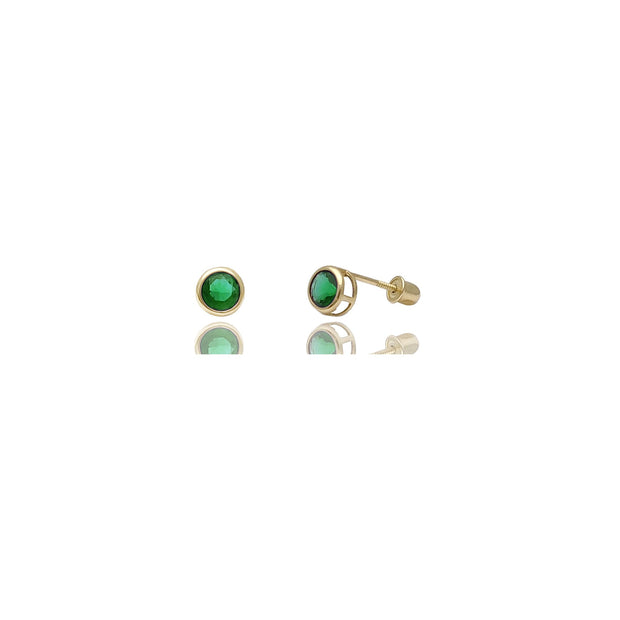 Round Prong Stud CZ Earrings (14K)