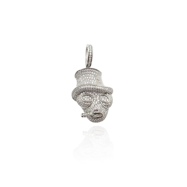 Iced-Out Smoking Cowboy Skull Pendant (Silver) New York Lucky Diamond