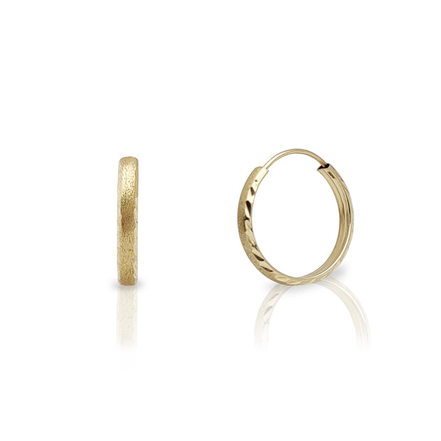 Sand-Blasted Diamond Cut Huggie Earrings (14K) Lucky Diamond New York