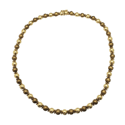 Semi-Satin Finish Ball Fancy Necklace (14K) Lucky Diamond New York