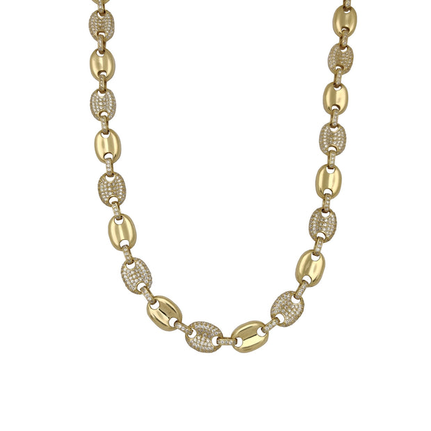Semi Iced-Out Puffy Gucci CZ Chain (14K) Lucky Diamond New York