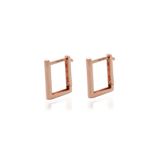 Square Shape Huggie Earrings Rose Gold (14K) Lucky Diamond New York
