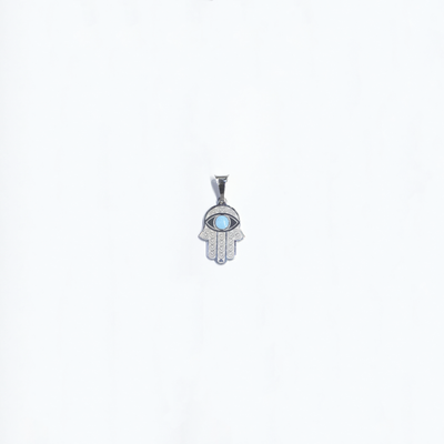 Hamsa Blue Eye Turquoise Pendant (Silver) front - Lucky Diamond - New York