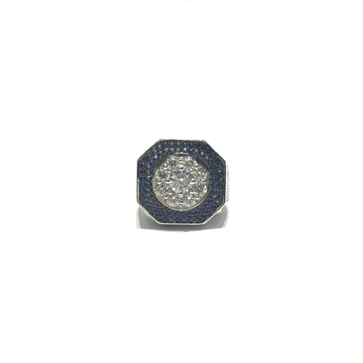 Iced-Out Octagonal CZ Statement Ring (Silver) front - Lucky Diamond - New York