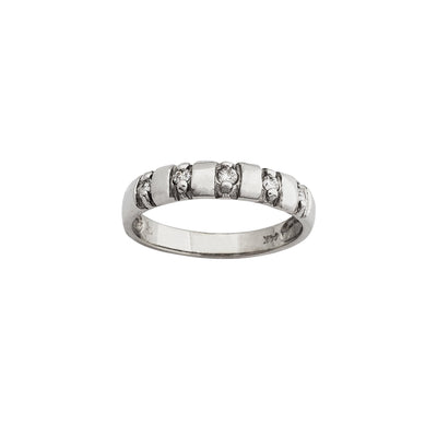 Stone Set Wedding Band (14K) Lucky Diamond New York