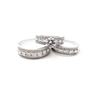 Three Piece Set Baguettes & Round CZ Engagement Ring (Silver) Lucky Diamond New York